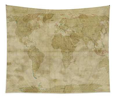 World Map Antique Style Tapestry