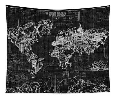 World Map Blueprint 2 Tapestry