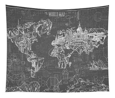 World Map Blueprint 5 Tapestry