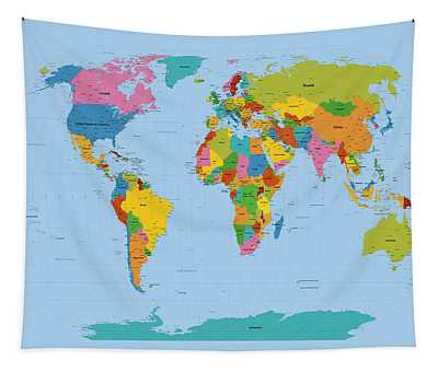 World Map Bright Tapestry