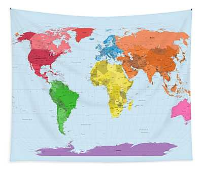 World Map Continents by Michael Tompsett