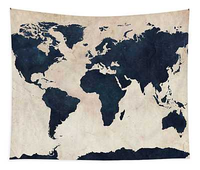 World Map Distressed Navy Tapestry