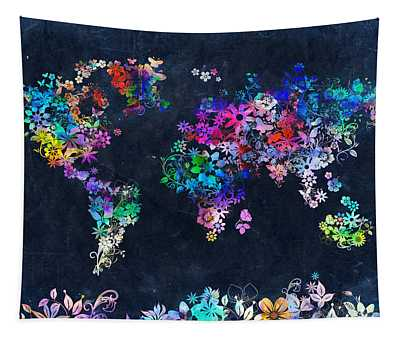 World Map Floral 10 Tapestry