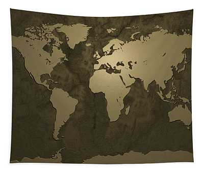World Map Gold Tapestry
