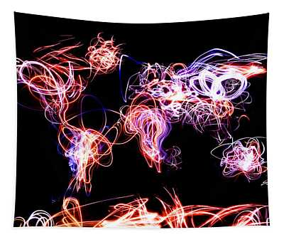 World Map Light Writing Tapestry