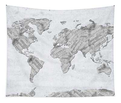 World Map Music 10 Tapestry