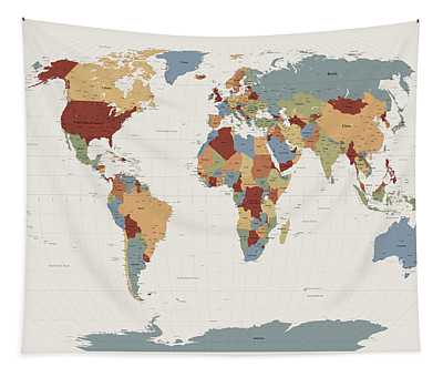 World Map Muted Colors Tapestry