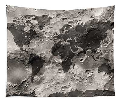 World Map On The Moon's Surface Tapestry by Michael Tompsett