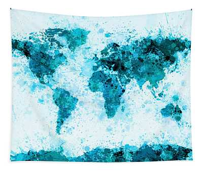 World Map Paint Splashes Blue Tapestry