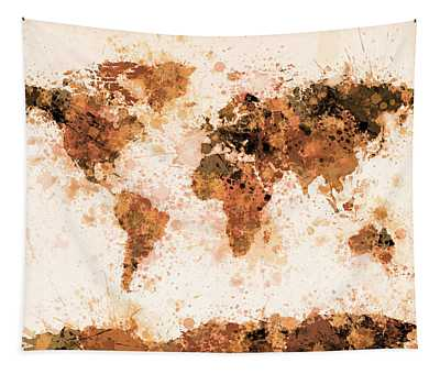 World Map Paint Splashes Bronze Tapestry