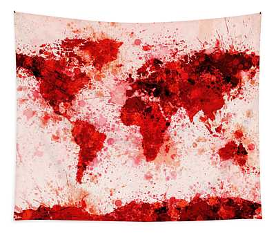 World Map Paint Splashes Red Tapestry