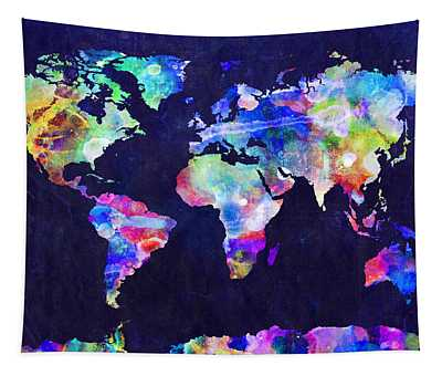 World Map Urban Watercolor Tapestry