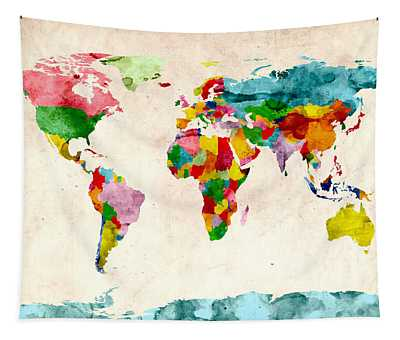 World Map Watercolors Tapestry