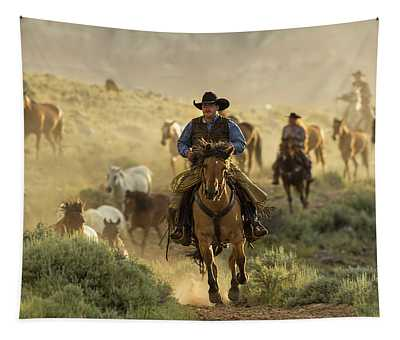 Wrangling The Horses At Sunrise  Tapestry