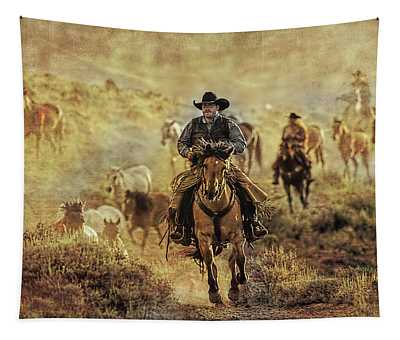 A Dusty Wyoming Wrangle Tapestry