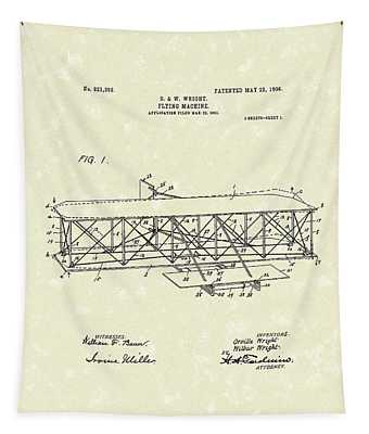 Wright  Brothers Flying Machine 1906 Patent Art Tapestry