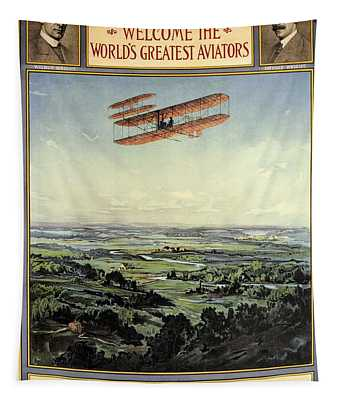Wright Brothers - World's Greatest Aviators - Dayton, Ohio - Retro Travel Poster - Vintage Poster Tapestry