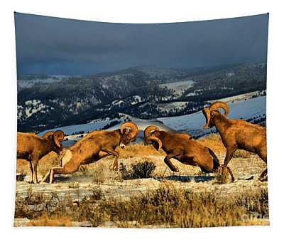 Wyoming Bighorn Brawl Tapestry