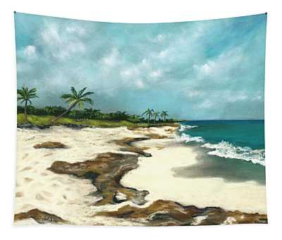 Tapestry featuring the painting Xcaret - Mexico - Beach by Anastasiya Malakhova
