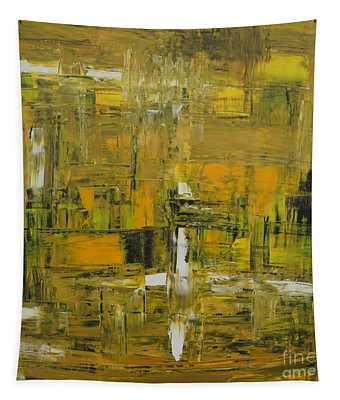 Yellow And Black Abstract Tapestry