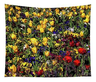 Tapestry featuring the photograph Yellow And Red Tulips by Mae Wertz