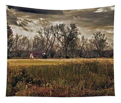 Yellow Barn And The Field Tapestry