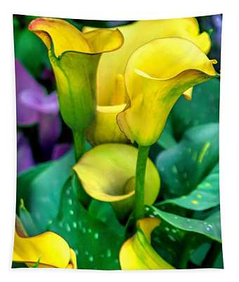 Yellow Calla Lilies Tapestry