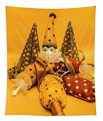 Yellow Carnival Clown Doll Tapestry