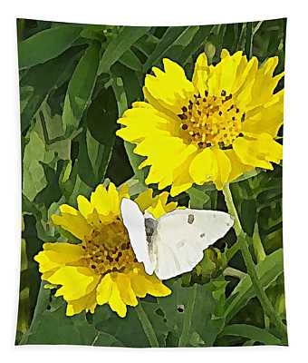 Tapestry featuring the digital art Yellow Cow Pen Daisies by Shelli Fitzpatrick