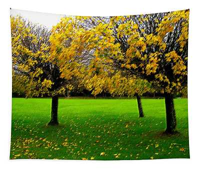 Yellow Leaves At Muckross Gardens Killarney Tapestry