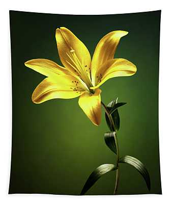 Yellow Lilly With Stem Tapestry