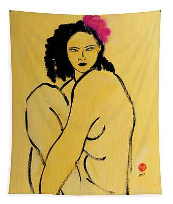 Yellow Nude With Pink Hibiscus Seated Tapestry