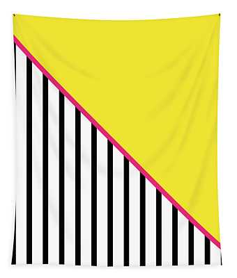 Yellow Pink And Black Geometric Tapestry
