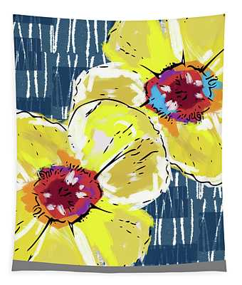 Yellow Poppies 2- Art By Linda Woods Tapestry