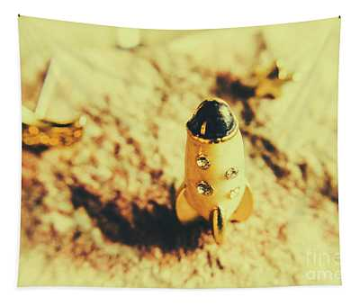 Yellow Rocket On Planetoid Exploration Tapestry