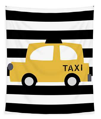 Yellow Taxi With Stripes- Art By Linda Woods Tapestry