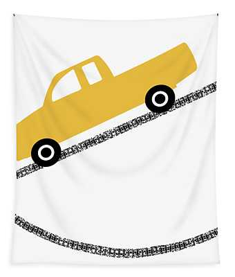 Yellow Truck On Road- Art By Linda Woods Tapestry