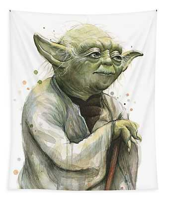 Yoda Watercolor Tapestry