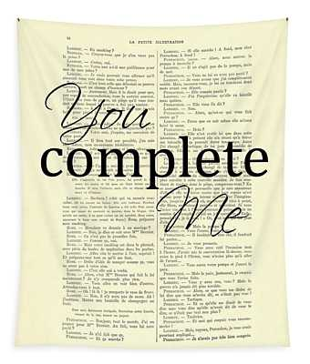 You Complete Me, Love Poster Tapestry