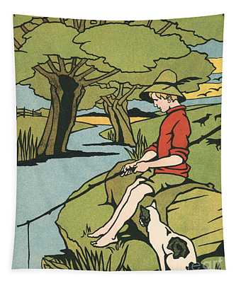 Young Boy Sitting On A Log Fishing In A Small River In The Country With His Cat Tapestry