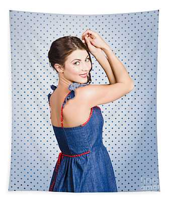 Young Caucasian Woman Posing In Retro Denim Dress Tapestry