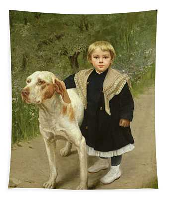 Young Child And A Big Dog Tapestry