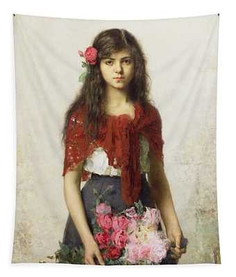 Young Girl With Blossoms Tapestry