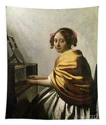 Young Woman At A Virginal Tapestry