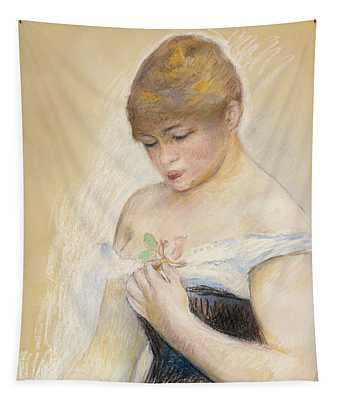 Young Woman Holding A Flower. Portrait Of Jeanne Samary Tapestry