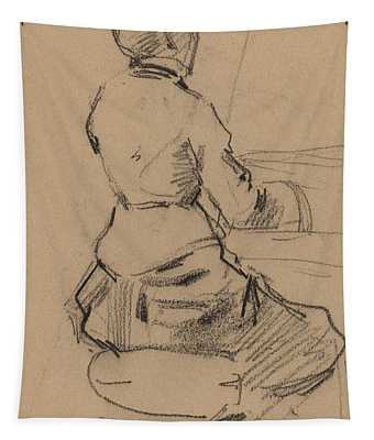 Young Woman Seated At A Piano Tapestry