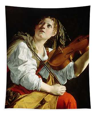 Young Woman With A Violin Tapestry