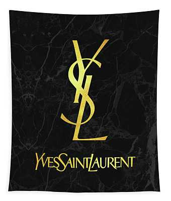 Yves Saint Laurent - Ysl - Black And Gold - Lifestyle And Fashion Tapestry