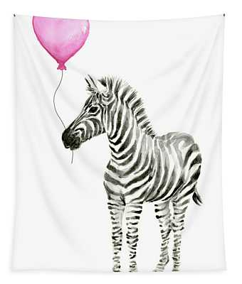 Zebra Watercolor Whimsical Animal With Balloon Tapestry
