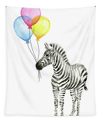 Zebra Watercolor With Balloons Tapestry